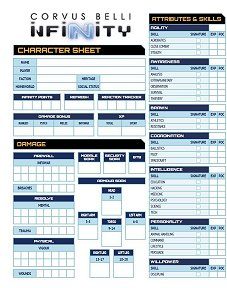 Infinity RPG Character Sheets